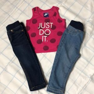 Nike pink baby tank top and 2 baby blue jeans